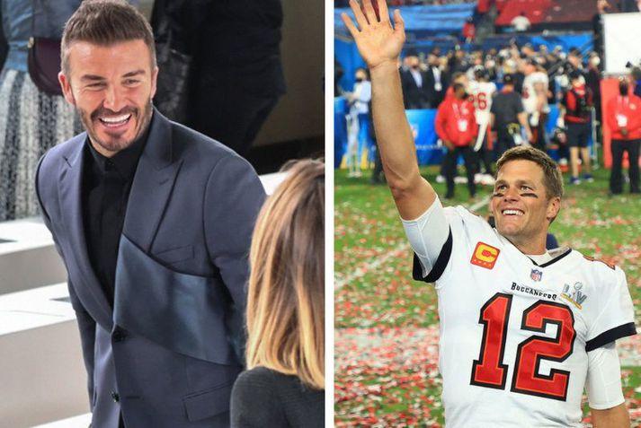 David Beckham og Tom Brady eru heimsþekktir íþróttamenn. Það munar bara tveimur árum á þeim en Beckham er löngu hættur á meðan að Brady er enn að spila.