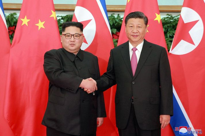 Kim Jong Un og Xi Jinping, leiðtogar Norður-Kóreu og Kína, árið 2018.
