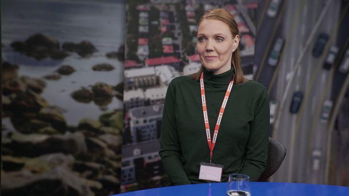 Svala Jóhannesdóttir í myndveri Víglínunnar á Stöð 2.
