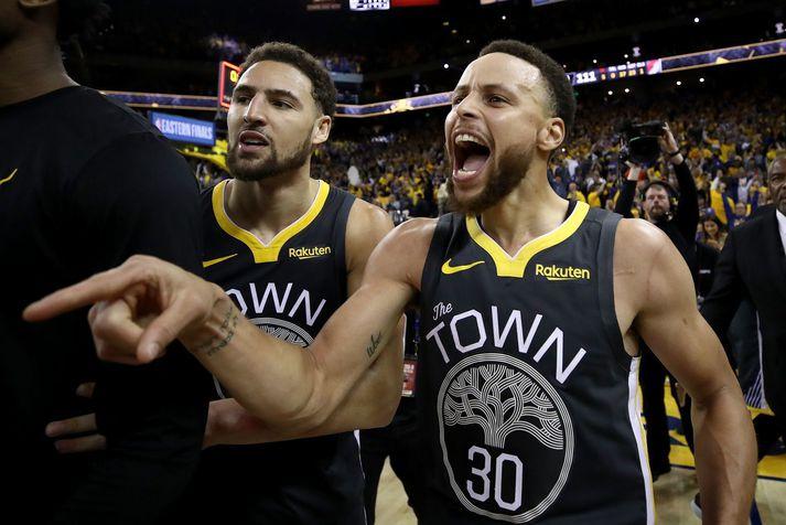 Stephen Curry og Klay Thompson hafa orðið þrisvar sinnum meistarar saman með liði Golden State Warriors.