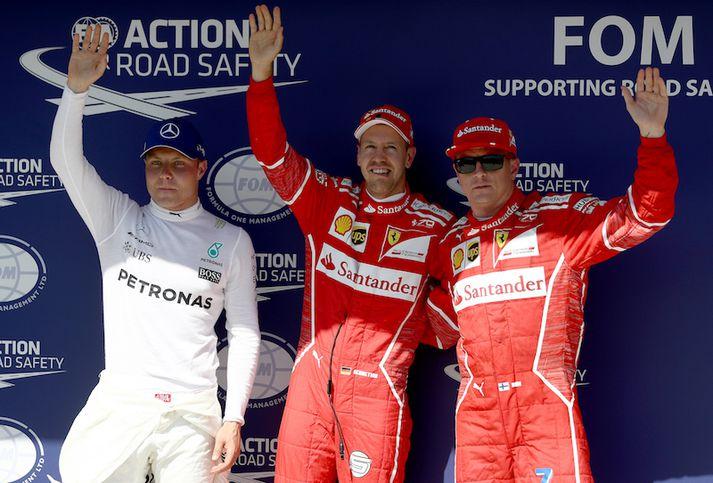 Þrír hröðustu menn dagsins (f.h.) Valtteri Bottas, Sebastian Vettel og Kimi Raikkonen.