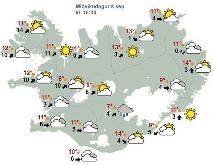 Spákort fyrir klukkan 15 í adg. Hiti á landinu í dag verður á bilin tíu til fimmtán stig að deginum.