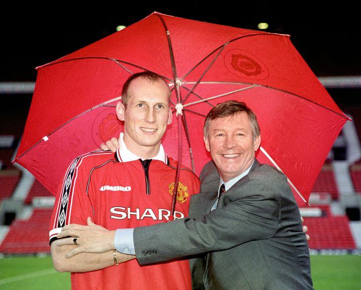 Jaap Stam og Sir Alex Ferguson þegar allt lék í lyndi.