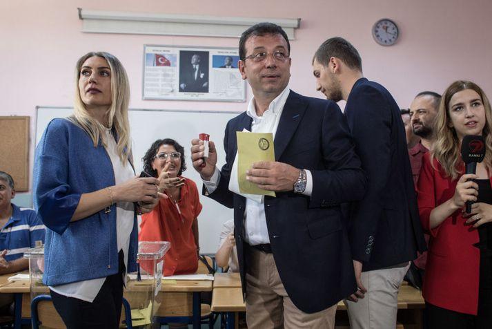 Ekrem Imamoglu, nýkjörinn borgarstjóri Istanbúl.