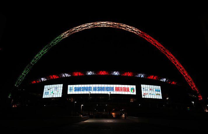 Wembley í ítösku fánalitunum.