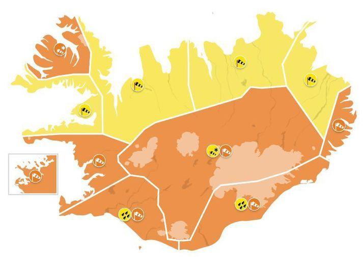 Appelsínugul viðvörun er í gildi fyrir höfuðborgarsvæðið, Suðurland, Faxaflóa, Vestfirði, Austfirði, Suðausturland og Miðhálendi. Gul viðvörun er í gildi í Breiðafirði og á Norðurlandi.