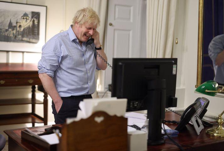 Boris virtist skemmta sér konunglega yfir símtalinu í kvöld.