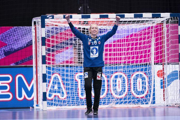 Katrine Lunde var frábær í marki Norðmanna í gær.