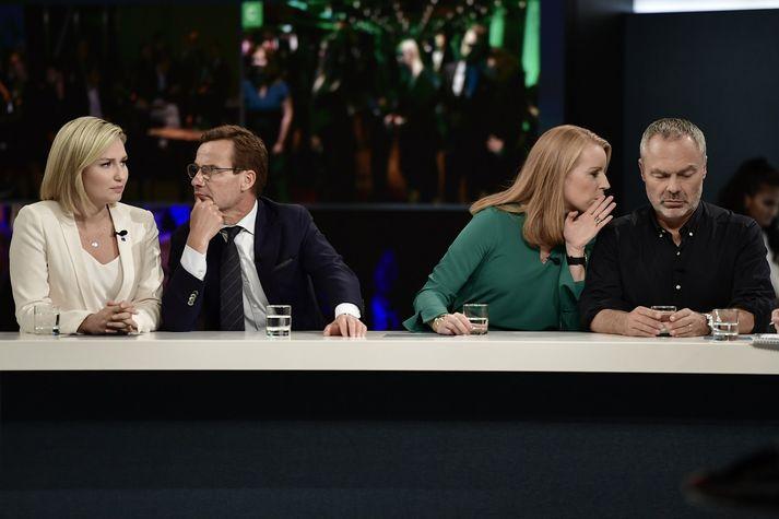Ebba Busch Thor, leiðtogi Kristilegra demókrata, Ulf Kristersson, leiðtogi Moderaterna, Annie Lööf, leiðtogi Miðflokksins, og Jan Björklund, leiðtogi Frjálslyndra.