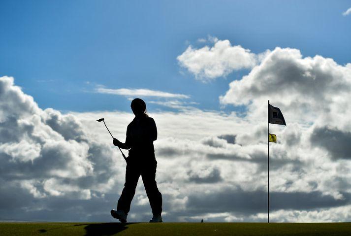 Mynd frá golfvelli.
