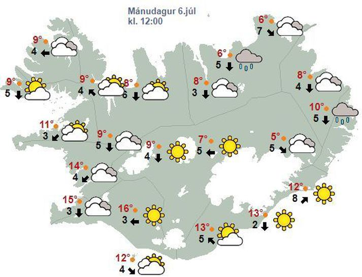 Veðurhorfur á landinu á hádegi í dag.