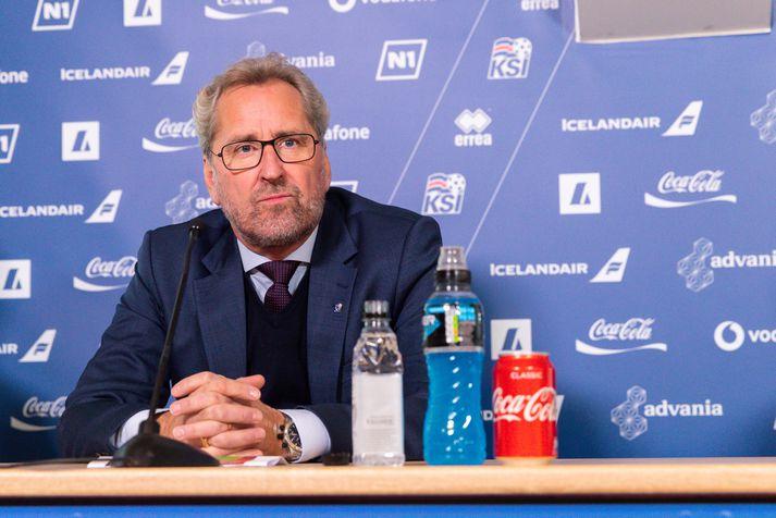 Erik Hamrén sat fyrir svörum á blaðamannafundinum.