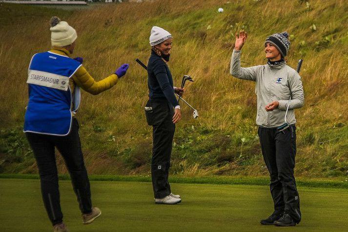 Guðrún Brá Björgvinsdóttir sést hér á Íslandsmótinu á dögunum sem hún vann eftir góðan lokahring.