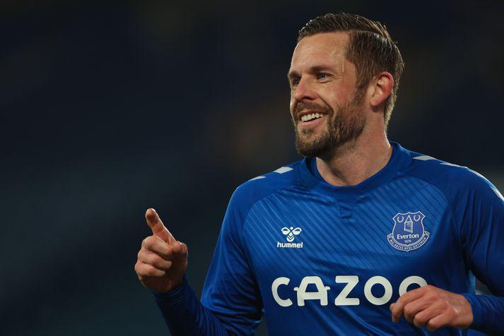 Gylfi Þór Sigurðsson átti frábæran leik fyrir Everton í gærkvöldi og skoraði bæði mörk liðsins.