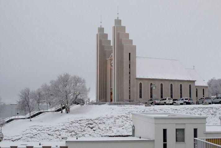 Það mun snjóa eitthvað á Akureyri á morgun ef marka má veðurspá Veðurstofu Íslands.