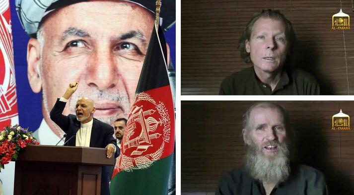 Ashraf Ghani, forseti Afganistan, og þeir Timothy Weeks (efri) og Kevin King (neðri).