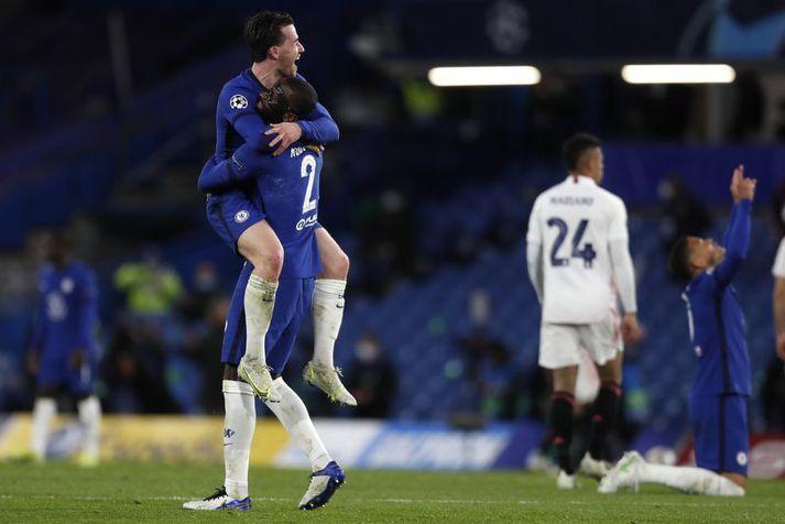 Ben Chilwell og Antonio Rudiger fagna sigrinum á Real Madrid í gær.