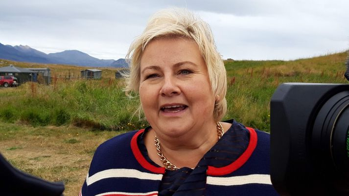 Erna Solberg, forsætisráðherra Noregs, í Viðey í gær.
