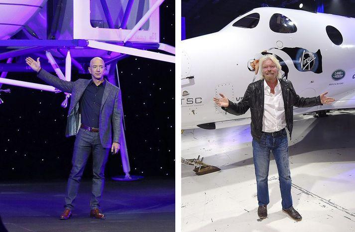 Jeff Bezos og Richard Branson eru báðir á leið út í geim í þessum mánuði og á eigin geimförum.