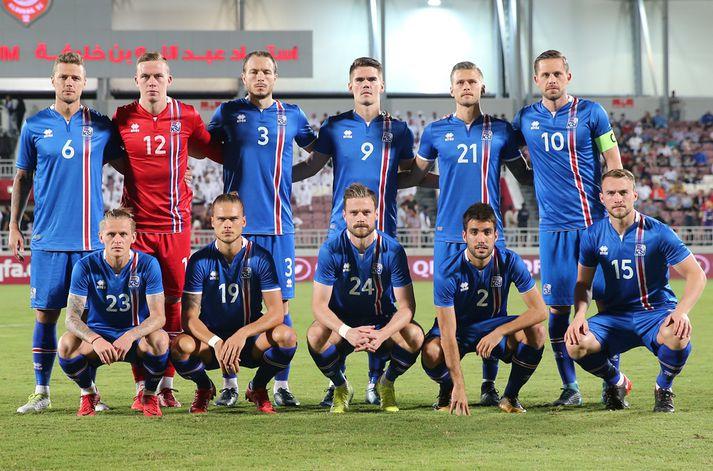 Byrjunarlið Íslands gegn Katar í kvöld.