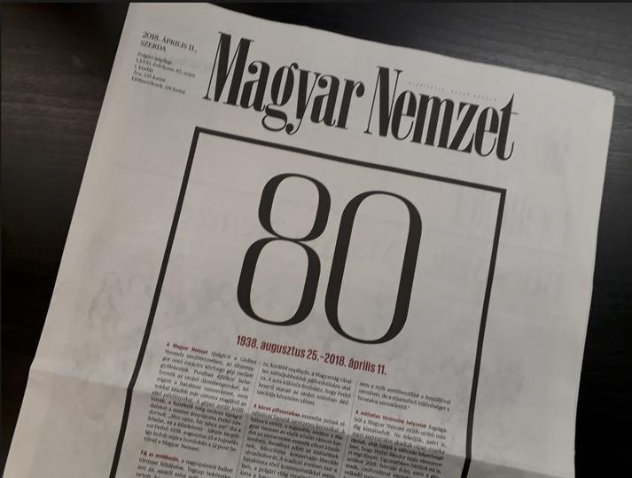 """Magyar Nemzet þýðir """"Ungverska þjóðin"""" á ungversku. Hér ber að líta síðustu forsíðu blaðsins."""