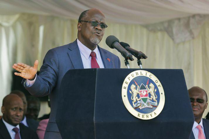 John Magufuli var tók við sem forseti Tansaníu árið 2015 og hlaut endurkjör í fyrra.