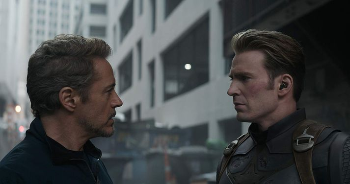 Robert Downey jr. og Chris Evans í Avengers: Endgame.
