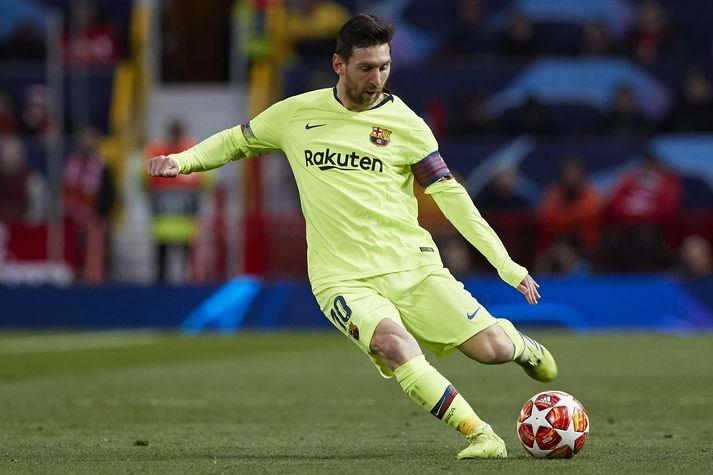 Messi í leiknum á Old Trafford.