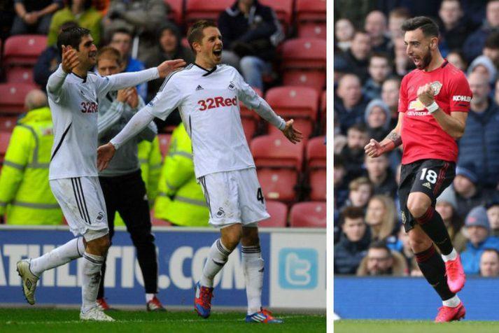 Gylfi Þór Sigurðsson fagnar marki með Swansea City vorið 2012 en til hægri er Bruno Fernandes að fagna marki með Manchester United.
