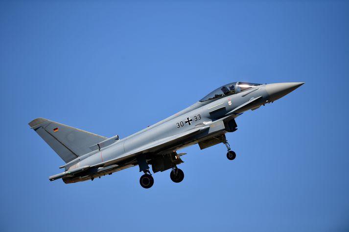 Hér má sjá þýska Eurofighter orrustuþotu.