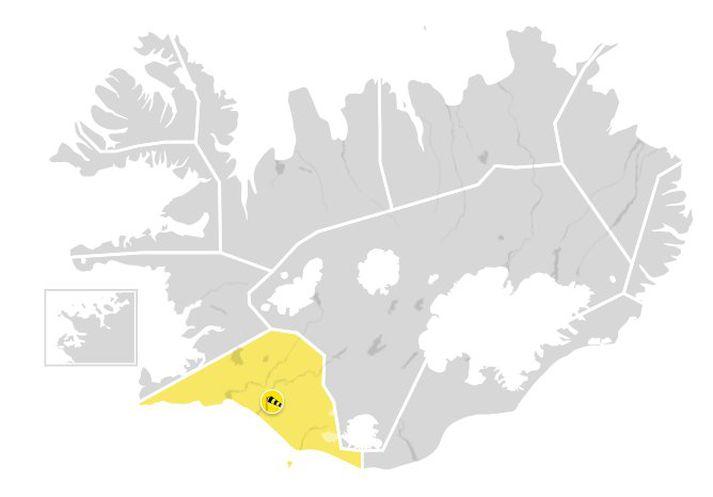 Gul veðurviðvörun tekur gildi á Suðurlandi klukkan sex í kvöld.
