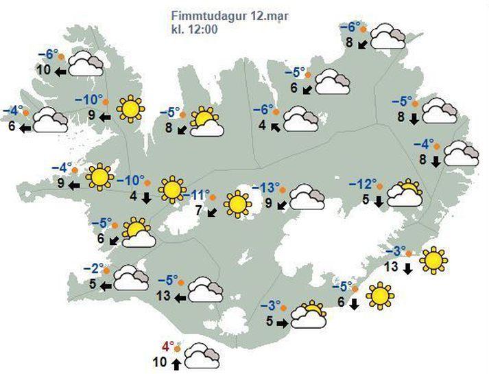 Spákort Veðurstofunnar fyrir hádegið eins og það leit út í morgun.