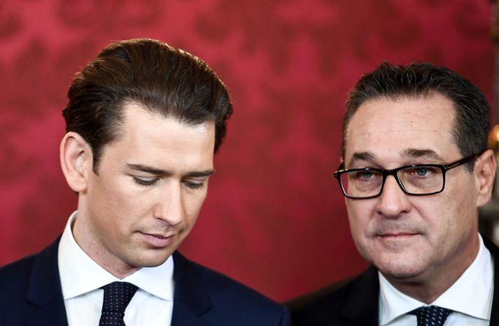 Sebastian Kurz og Heinz-Christian Strache í Hofburg-höll í gær.