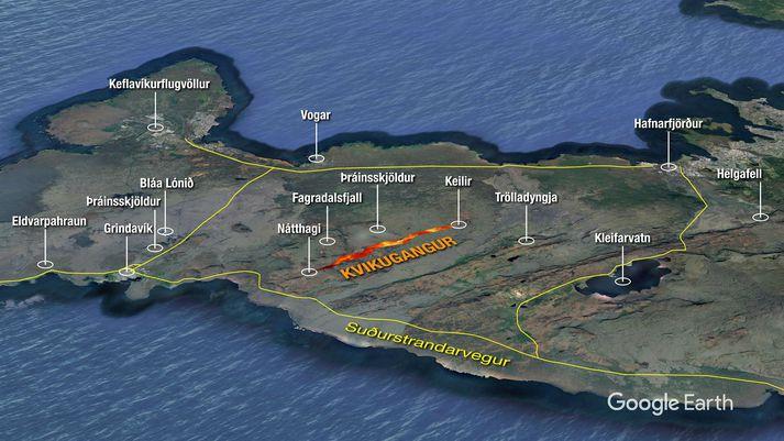 Kvikugangurinn nær frá Nátthaga og að Keili.