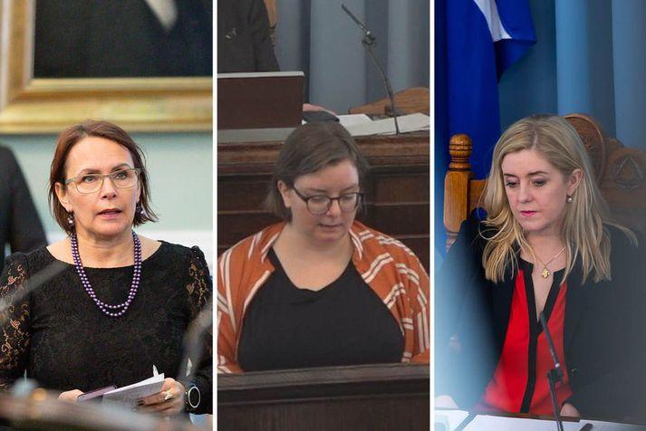Bjarkey Olsen Gunnarsdóttir, þingkona VG, Olga Margrét Cilia, þingkona Pírata og Bryndís Haraldsdóttir, þingkona Sjálfstæðisflokksins.