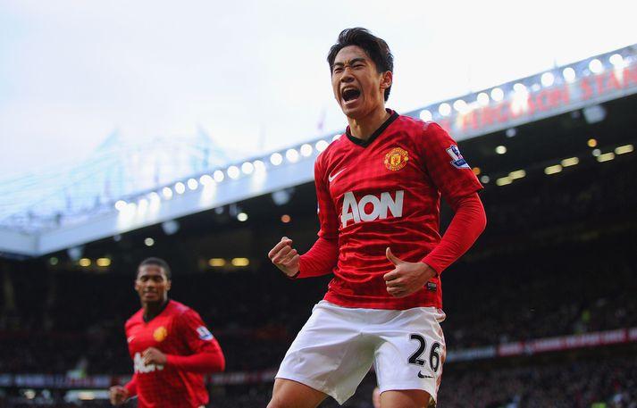 Shinji Kagawa fagnar marki fyrir Manchester United.