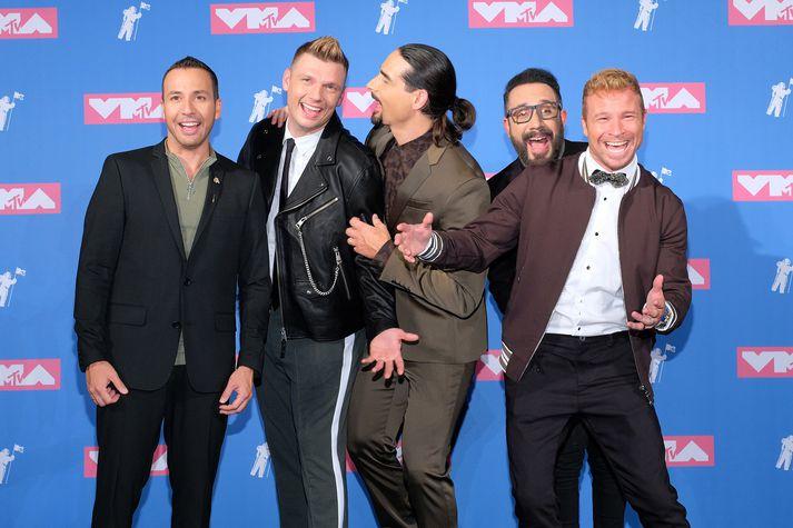 Nick Carter, annar frá vinstri, og hinir meðlimir Backstreet Boys á verðlaunahátíð MTV fyrr á árinu.