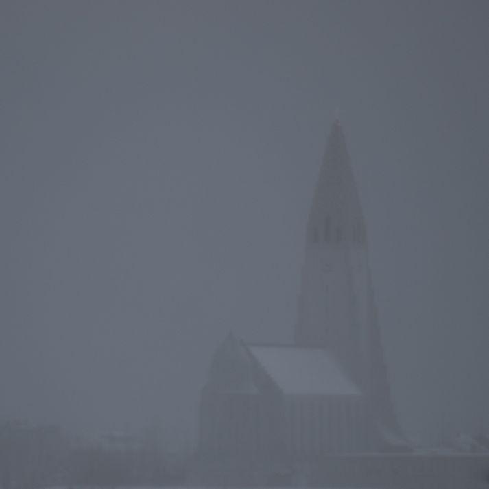 Skyggni var um tíma lítið í Reykjavík.
