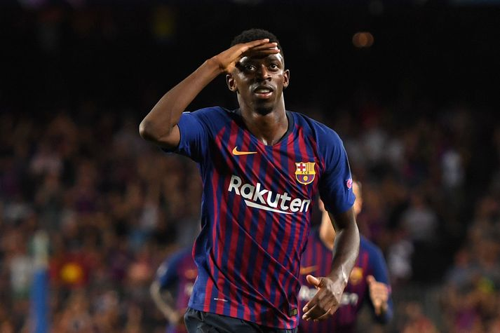 FC Barcelona v PSV - UEFA Champions League Group B BARCELONA, SPAIN - SEPTEMBER 18: Ousmane Dembele of Barcelona celebrates after scoring his team's second goal during the Group B match of the UEFA Champions League between FC Barcelona and PSV at Camp Nou on September 18, 2018 in Barcelona, Spain. (Photo by Alex Caparros/Getty Images)