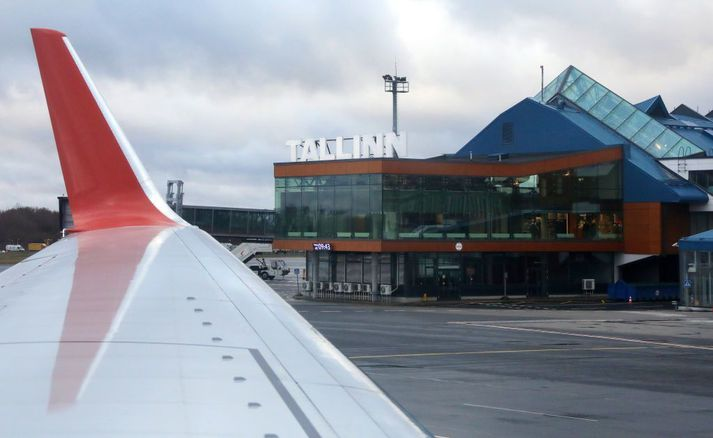 Frá flugvellinum í Tallinn í Eistlandi.