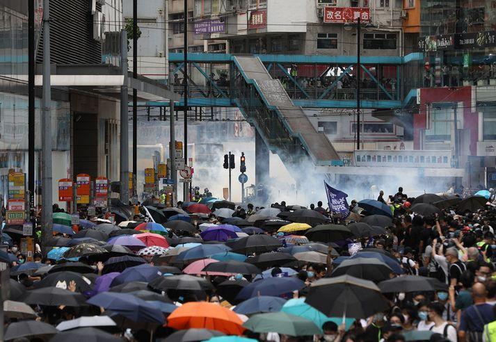 Frá mótmælunum í Hong Kong í gær.