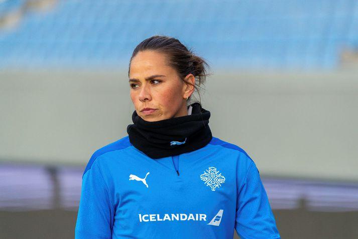 Evrópumeistarinn Sara Björk Gunnarsdóttir sat fyrir svörum á blaðamannafundi íslenska landsliðsins fyrir leikinn gegn Lettum.