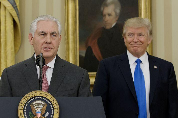 Tillerson og Trump þegar allt lék í lyndi.