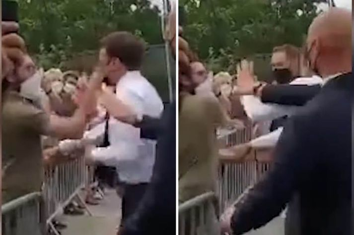 Emmanuel Macron Frakklandsforseti átti líklega síst von á löðrungi þegar hann heilsaði íbúum Tain-l'Hermitage í morgun.