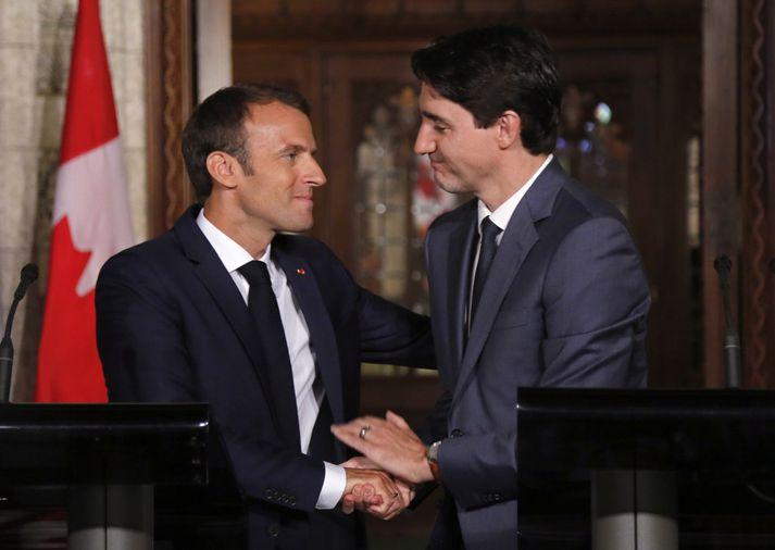 Emmanuel Macron og Justin Trudeau.