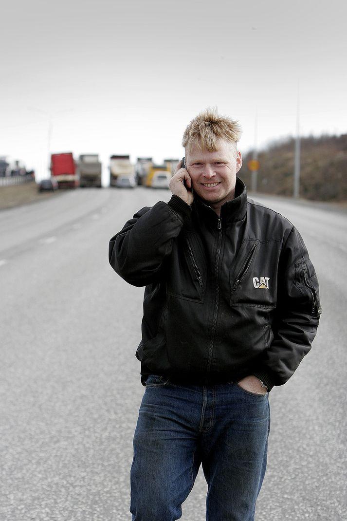 Sturla Jónsson við mótmæli í Ártúnsbrekku í mars 2008.