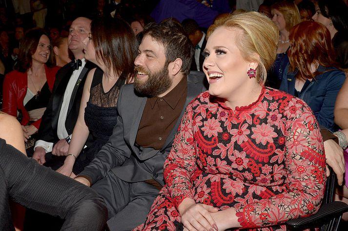 Adele og Simon Konecki á Grammy-verðlaununum árið 2013.