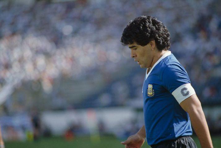 Diego Maradona leiddi Argentínu til heimsmeistaratitilsins árið 1986.