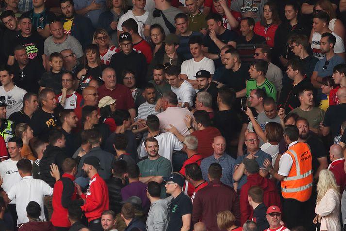 Stuðningsmenn Liverpool í leiknum gegn Southampton á laugardaginn.