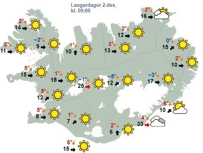 Spákort Veðurstofu Íslands fyrir morgundaginn.